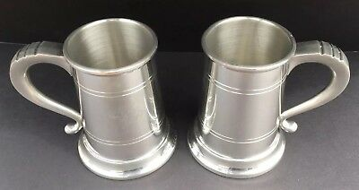 Colonial Pewter Boardman 603 Tankard Mug Set Of 2 Vintage