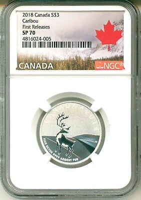 2018 Canada S$3 Caribou First Release NGC SP70