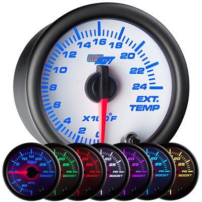52mm GLOWSHIFT WHITE 7 COLOR LED DIESEL PYROMETER PYRO GAUGE w THERMOCOUPLE