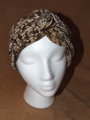 Vintage Evening Turban Brown Silk Lined Red Leaf England Wanamaker's