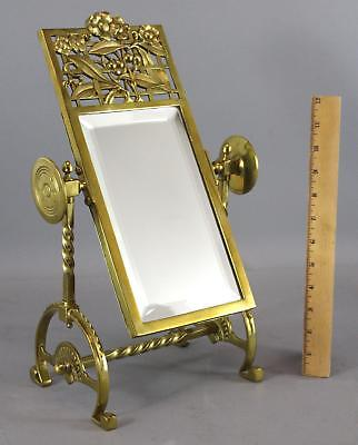 Antique 1880s Aesthetic Period Gilded Brass Flower Vanity Mirror Stand NR