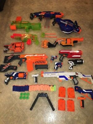 Lot 13 Nerf Guns Plus Lots Of Accessories 25lbs Cosplay Etc Working! *READ*