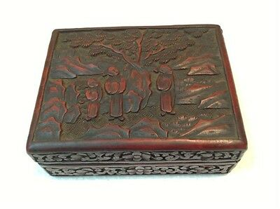 Antique rare Chinese xix Lacquer 19th amazing box hand carved (m831)