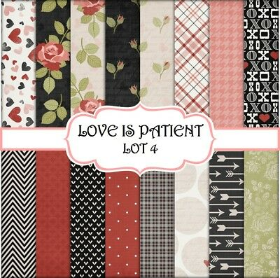 LOVE IS PATIENT - LOT 4 SCRAPBOOK PAPER - 16 x A4 pages
