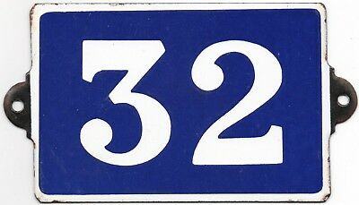 Old blue French house number 32 door gate plate plaque enamel steel metal sign