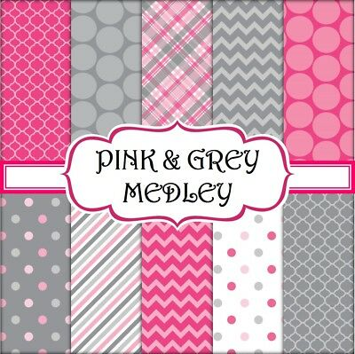 PINK & GREY MEDLEY SCRAPBOOK PAPER - 10 x A4 pages