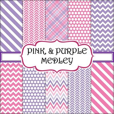 PINK & PURPLE MEDLEY SCRAPBOOK PAPER - 10 x A4 pages