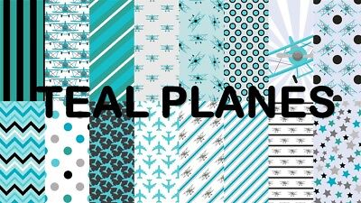 TEAL PLANES  SCRAPBOOK PAPER - 16 x A4 pages