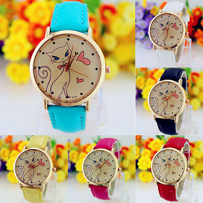 Fashion Women Watch Faux Leather Watch Strap Band Analog Quartz Wristwatch Cat