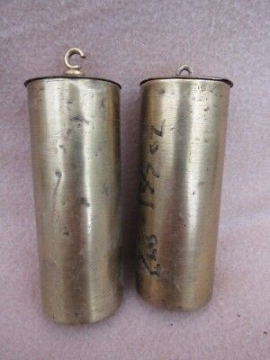 Pair Of Antique Brass Cased Vienna Wall Clock Weights For Tlc