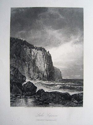 Lake Superior Baptism Bay River Minnesota USA Amerika Stahlstich 1874