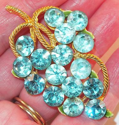 Vintage Goldtone Aqua Teal Blue Rhinestone Berries Green Enamel Leaf Brooch Pin