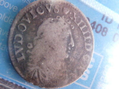 Lovely 1676 Colonial Canada French Silver 4 Sols Coin - C.c.c.s. Vg-8