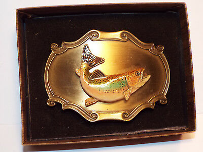Vintage Unused Rainbow Trout 3 D Fish Belt Buckle Great Color by Raintree in Box