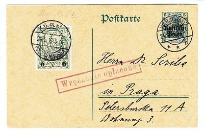 Poland 1915, German Occupation, Mixed Franking With Warsaw Local Stamp
