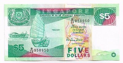 1989 SINGAPORE FIVE DOLLARS NOTE - p19