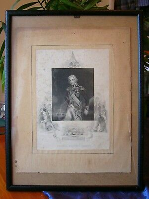 A Rare Antique 1860 Line Engraving By J Rogers After Hoppner Of Viscount Nelson