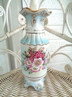 "Antique Nippon Hand Painted Blue Vase Pink Flowers Gold Trim 7.5"" Tall (59)"