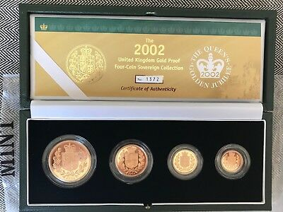 2002 GOLDEN JUBILEE GOLD PROOF FOUR COIN SET FDC £5 to ½ SOVEREIGN NEW MINT FDC