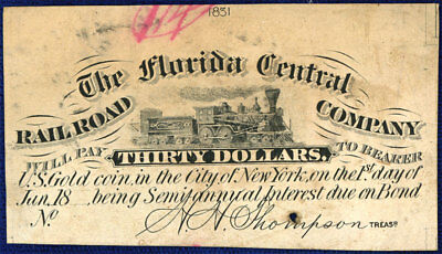 Florida Central Rail Road Co Proof Coupon From Bond