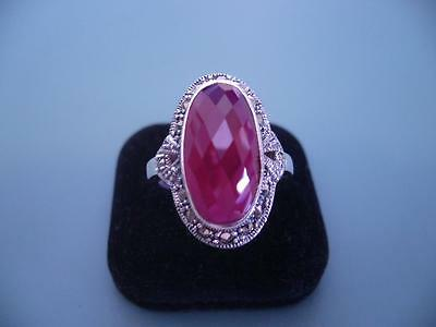 Large Sterling Silver Created Checker Cut Ruby & Marcasite Ring - 9 / R.5