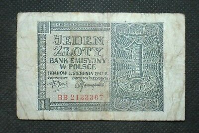 Old Banknote Of Poland 1 Zloty 1941 German Occupation World War Ii Bb 2133367