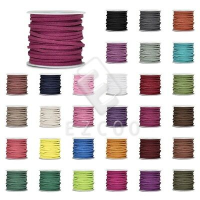 1 Roll 5M Faux Suede Cord Thread String Jewelry Making 3x1.5mm 30 Colors TC0138