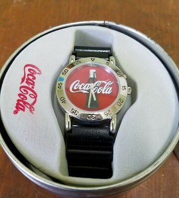 Coca Cola Logo Red Dial Divers Watch in Collectible Tin 2003