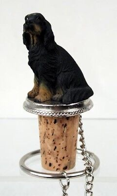 Gordon Setter Dog Hand Painted Resin Figurine Wine Bottle Stopper