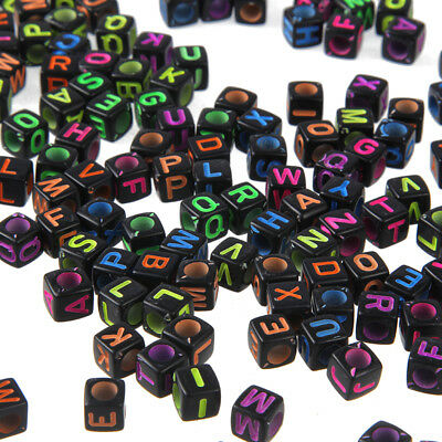 200x Mixex Color Cubic Alphabet / Letter Square Acrylic Spacer Beads Findings
