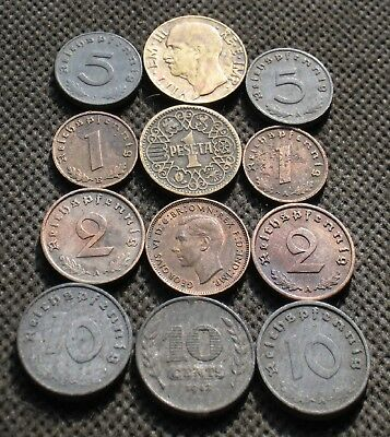 Lot Twelve Old Coins Europe (Italy-Spain-Germany-Uk) World War Ii - Mix 739