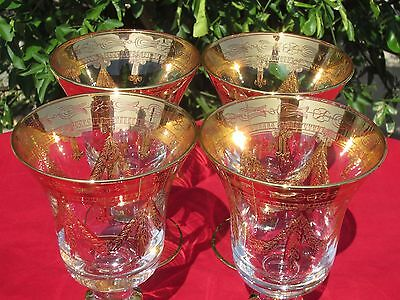 SET of 4 Horchow Elegant Gold Painted Crystal Medici Water Goblets ~ Italy