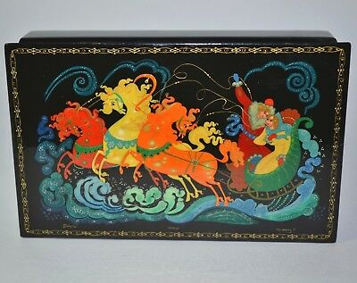 Vtg Russian Palekh Hand Painted Lacquered Trinket Box Signed Troika Horse Sleigh