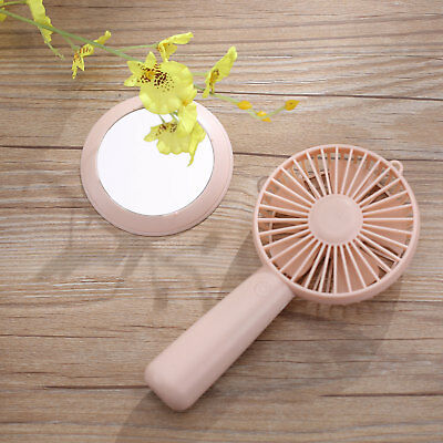 Handheld Portable USB Mini Fan Rechargeable Desk Pocket Cooling With Mirror Base
