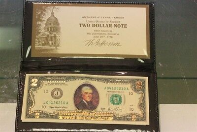Colorized 2 Sided 1976 $2 Bill Uncirculated Declaration Of Independence W/holder