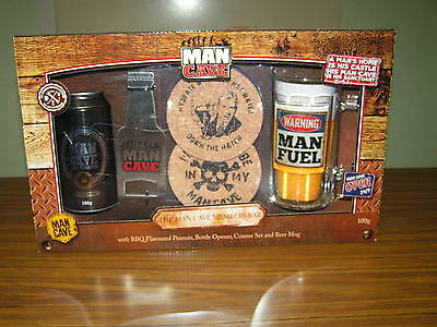 """New ~ """"the Man Cave Bar Set"""" ~ Can, Coasters  &  """"bottomless, Freezerable Glass"""""""