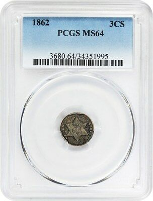 1862 3cS PCGS MS64 - Lower Mintage Date - 3-Cent Silver - Lower Mintage Date