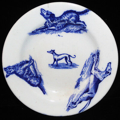 Flow Blue Staffordshire Childs DOGS Toy Plate SPANIEL TERRIER HOUND DOG 1880