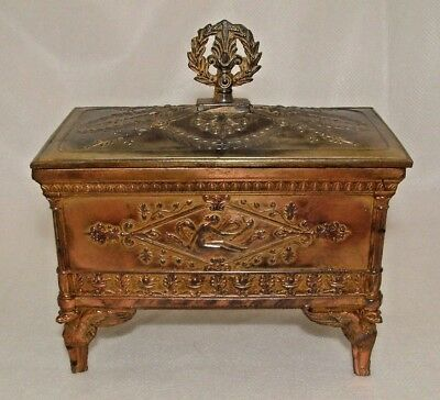 SUPERB FRENCH ANTIQUE BRONZE NAPOLEON III JEWELLERY CASKET c.1870's - PERFECT