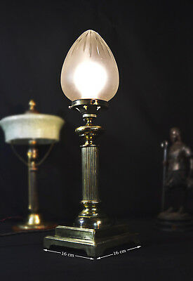 Rare Edwardian 1910s heavy brass Corinthian column lamp opaque cut-glass Shade