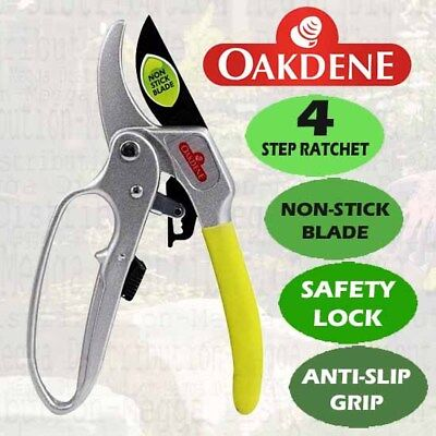 Oakdene 4 Gear Ratchet Pruner/Secateurs/Shears for Garden Twig/Branch/Bush/Hedge