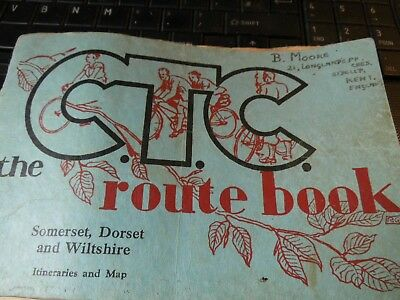 SOMERSET,DORSET,WILTSHIRE CYCLE TOUR:1930's BOOK+MAP,HOTEL,GUESTHOUSES-ANNOTATED