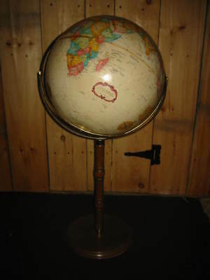 "NICE Vintage Replogle 16"" World Classic Series Globe  Wooden Floor Stand"
