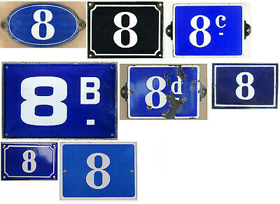 Large old blue French house number 8 B C D door gate plate enamel sign - pick