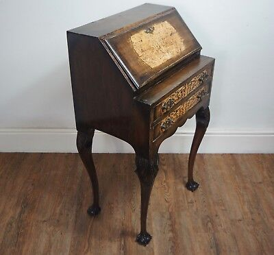 FINE C1920s 30s ANTIQUE INLAID QUEEN ANNE VERY PETITE BUREAU DESK WRITING TABLE