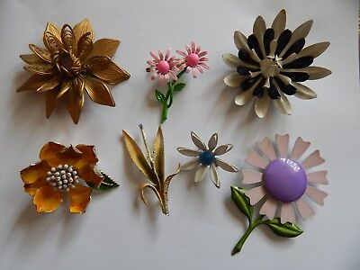 Vintage Brooch Pin Lot Of 7 Mixed Enamel Metal Plastic Flower Brooches