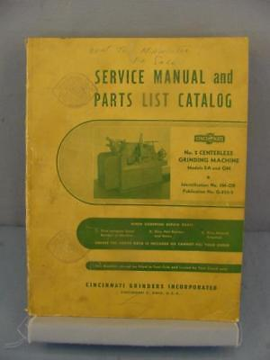 Cincinnati EA & OM No. 2 Centerless Grinding Machine Service & Parts Manual