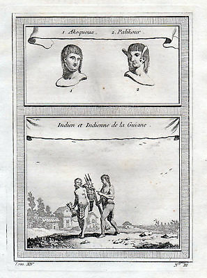 ca. 1750 Guyana Natives Native American costume Tracht Kupferstich antique print