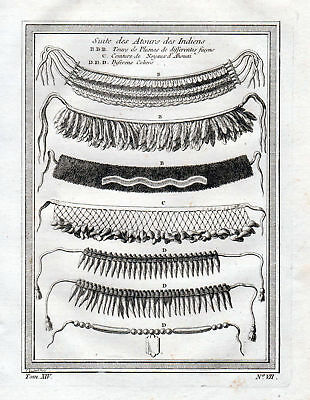 1750 Indians Native American necklaces jewelry Kollier Kupferstich antique print