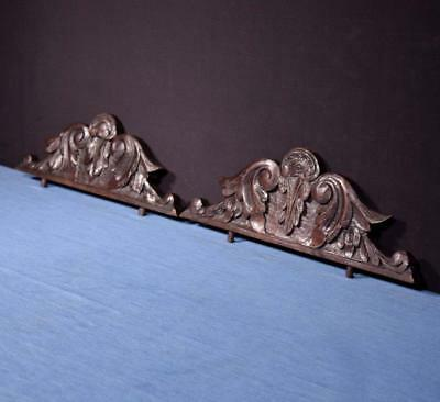 *Pair of French Antique Breton Pediments, Crests Chestnut Wood from Brittany